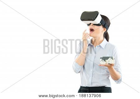 Excited Woman Using A Vr Headset