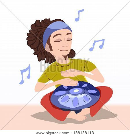 The musician beats his hands. The man sits in a lotus position, on his maples lies the musical instrument of hang drams. The character sleepily shut his eyes and listens to music.