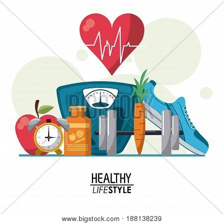 color poster elements with bubbles and heartbeat rhythm with elements sport healthy lifestyle vector illustration