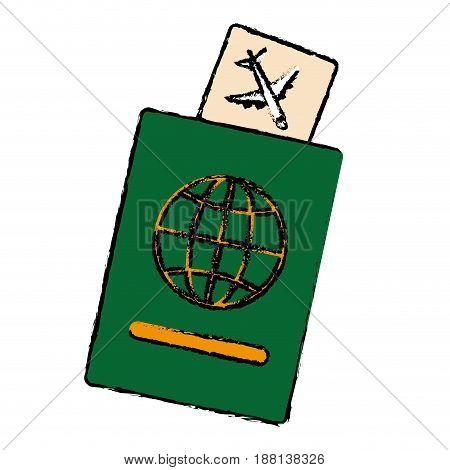 passport document icon over white background. colorful design. vector illustration