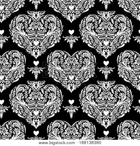 Vector seamless vintage pattern with hearts. Heart - rustic decorative ornate lace design. Can be used for wallpaper, pattern fills, web page background, surface textures. Ethnic henna style.
