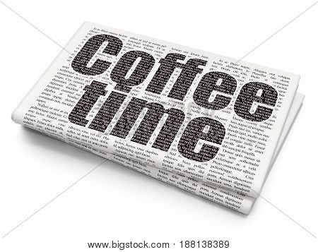 Time concept: Pixelated black text Coffee Time on Newspaper background, 3D rendering