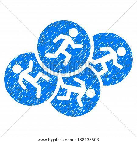 Grunge Running Men icon with grunge design and scratched texture. Unclean vector blue pictogram for rubber seal stamp imitations and watermarks. Draft sign symbol.