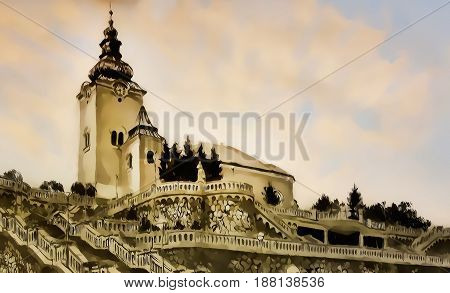 church dominant with decorative historical staircase, graphic work from painting