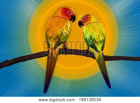 Two Colorful Parrots Sitting on Branches Illustration, Macaw Birds