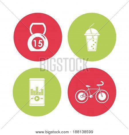 colorful circular frame with silhouette set of elements for sport health vector illustration