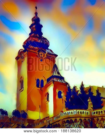 catholic church building, architectural dominant of the city, graphic from painting