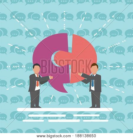 Communication Business concept Two businessmen with speech bubble
