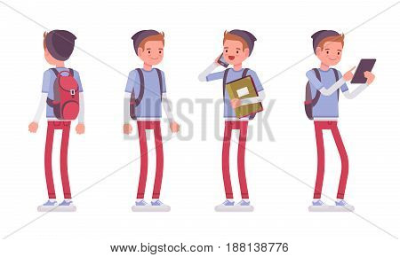 Teenager boy wearing cute beanie and urban messenger rucksack, casual slim fit, standing pose, using gadget, front, rear view, vector flat style cartoon illustration, isolated, white background