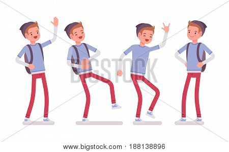 Teenager boy wearing cute beanie and urban messenger rucksack, casual slim fit, standing pose, positive emotions, laughing, vector flat style cartoon illustration, isolated, white background