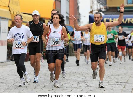WROCLAW, POLAND - SEPTEMBER 14, 2008: Participants run in Wroclaw Marathon on September 14, 2008 in Wroclaw, Poland