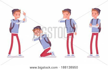 Teenager boy wearing beanie and messenger rucksack, casual slim fit, negative emotions, bullying, suffering, emotional disorder, vector flat style cartoon illustration, isolated, white background