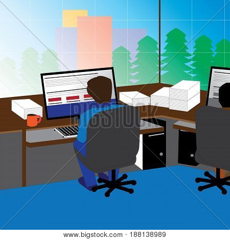 An illustration of coworkers in their respective cabinets in an office.