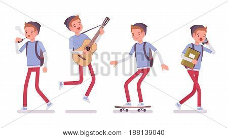 Teenager boy wearing cute beanie, messenger rucksack, casual slim fit, walking, standing, playing guitar, skateboarding, vaping, vector flat style cartoon illustration, isolated, white background