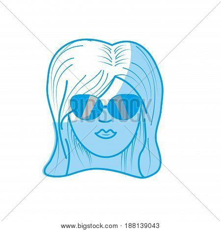 silhouette cute woman face with hairstyle and sunglasses, vector illustration