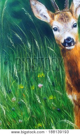 painting of young deer in wild landscape with high grass