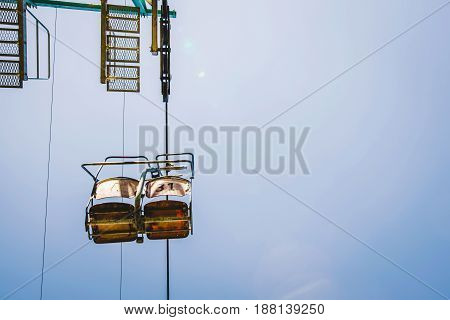 Ski Lift With Blue Sky On The Background