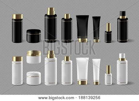 Realistic cosmetic bottle mock up set isolated pack on white background. Cosmetic luxury brand template. Shampoo pack.
