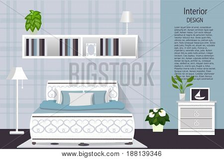 The interior of the bedroom. Room in blue color with the furniture . Vector illustration. cartoon flat design