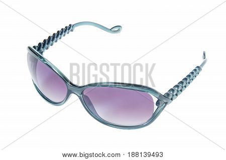 sunglasses with green frame and blue lenses isolated