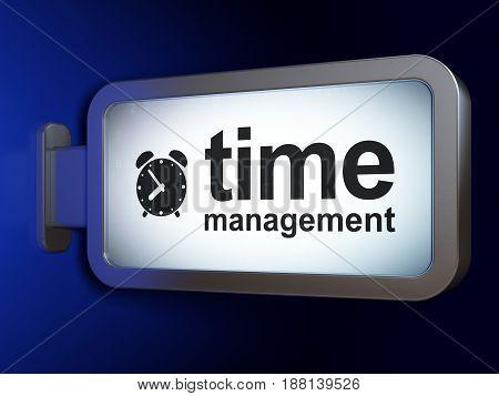 Timeline concept: Time Management and Alarm Clock on advertising billboard background, 3D rendering