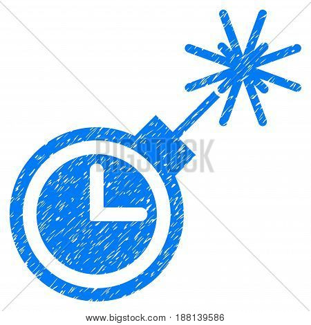 Grunge Time Bomb icon with grunge design and unclean texture. Unclean vector blue pictogram for rubber seal stamp imitations and watermarks. Draft emblem symbol.