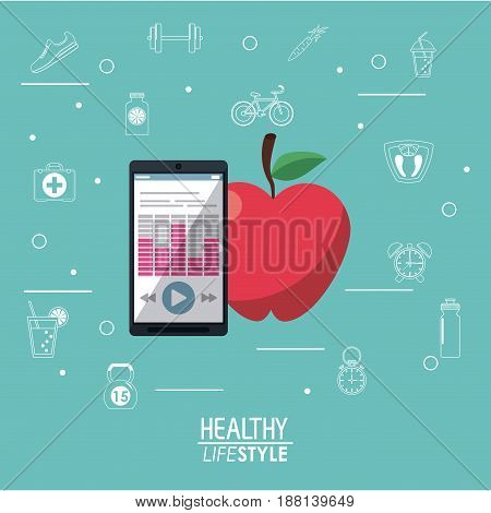 blue background with smartphone with app and apple fruit with silhouette healthy lifestyle elements vector illustration