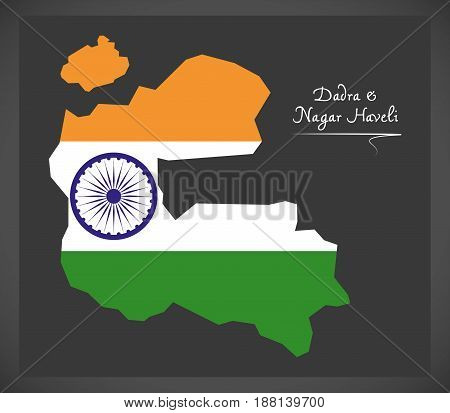 Dadra And Nagar Haveli Map With Indian National Flag Illustration