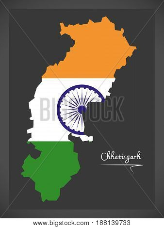Chhatisgarh Map With Indian National Flag Illustration