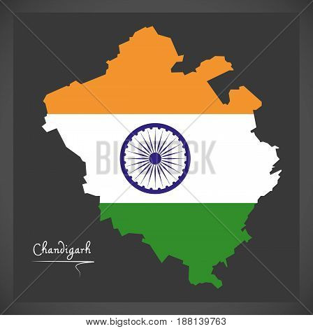 Chandigarh Map With Indian National Flag Illustration
