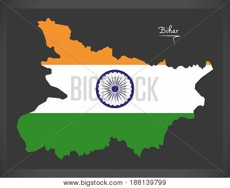 Bihar Map With Indian National Flag Illustration