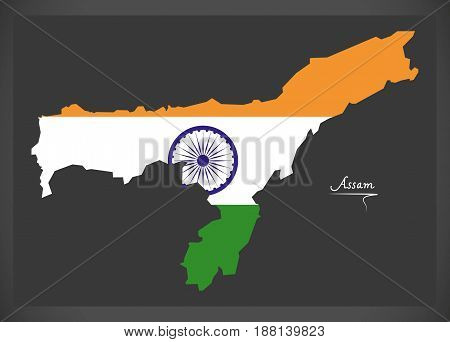 Assam Map With Indian National Flag Illustration