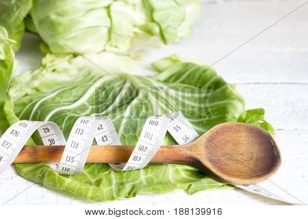 Cabbage diet concept healthy lifestyle with centimeter