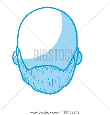 silhouette nice man face with beard and bald, vector illustration