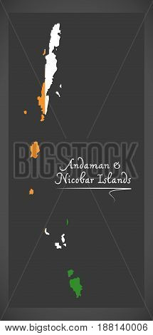 Andaman And Nicobar Islands Map With Indian National Flag Illustration