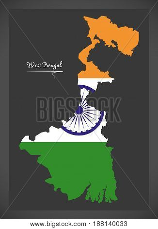 West Bengal Map With Indian National Flag Illustration