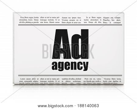 Advertising concept: newspaper headline Ad Agency on White background, 3D rendering