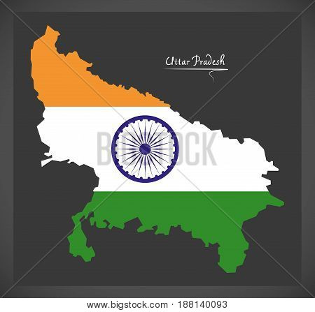 Uttar Pradesh Map With Indian National Flag Illustration