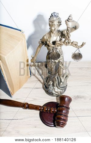 Law and Justice concept. Mallet of the judge book scales of justice. Courtroom theme.