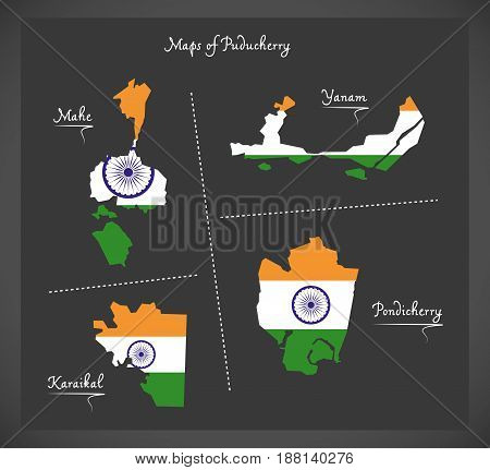 Puducherry Detailed Maps Map With Indian National Flag Illustration