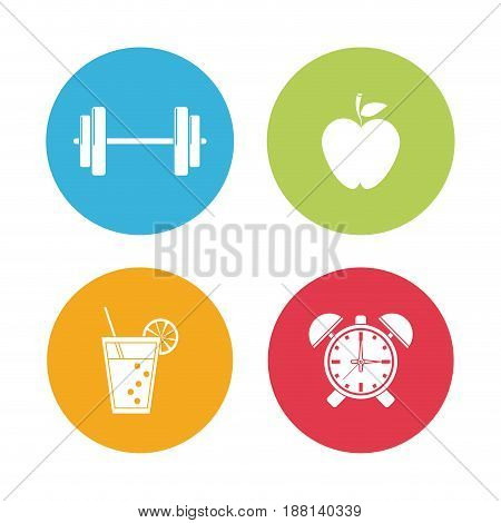 background with colorful circular frame with silhouette set of elements for sport health vector illustration