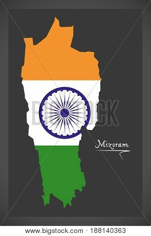 Mizoram Map With Indian National Flag Illustration
