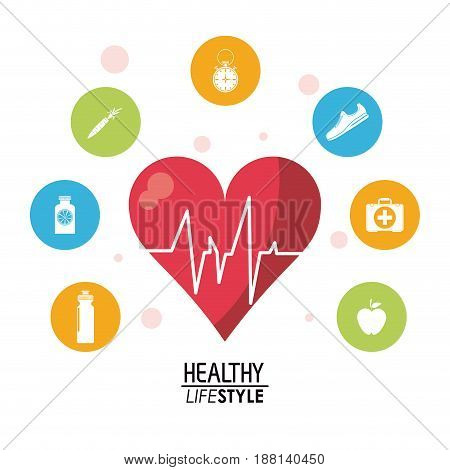 white poster with heartbeat rhythm with colorful circular frame with silhouette set of healthy lifestyle icons vector illustration
