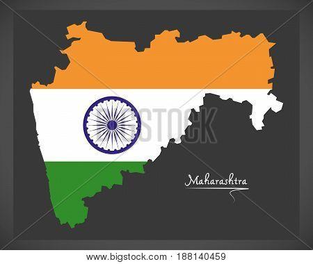 Maharashtra Map With Indian National Flag Illustration