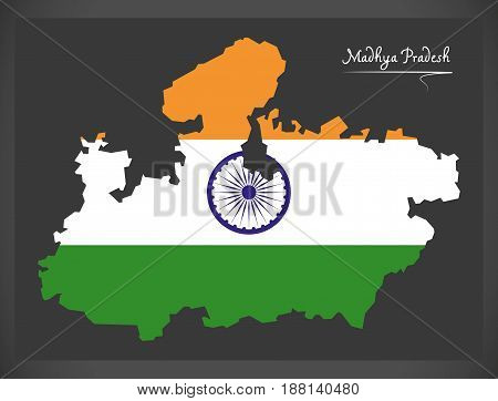 Madhya Pradesh Map With Indian National Flag Illustration