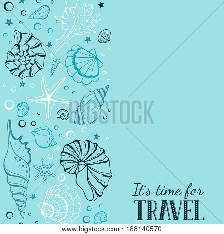 Travel time vertical banner. Hand drawn sea shells and stars collection. Marine illustration of ocean shellfish. Seashells contour arranged in stripe on blue background.