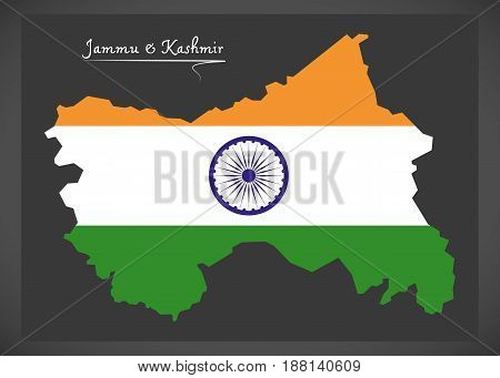 Jammu And Kashmir Map With Indian National Flag Illustration