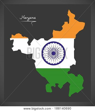 Haryana Map With Indian National Flag Illustration