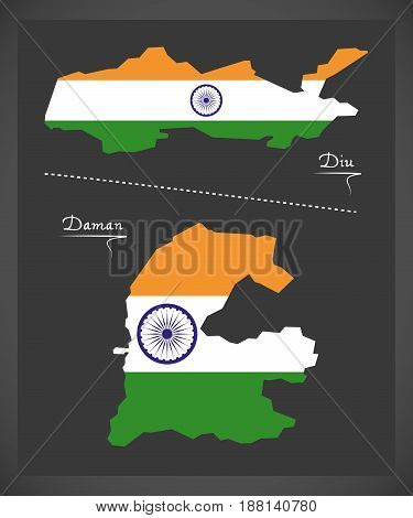 Diu And Daman Map With Indian National Flag Illustration