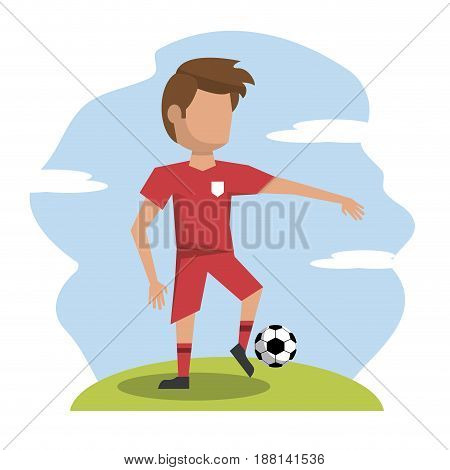 color scene with faceless athlete football player vector illustration